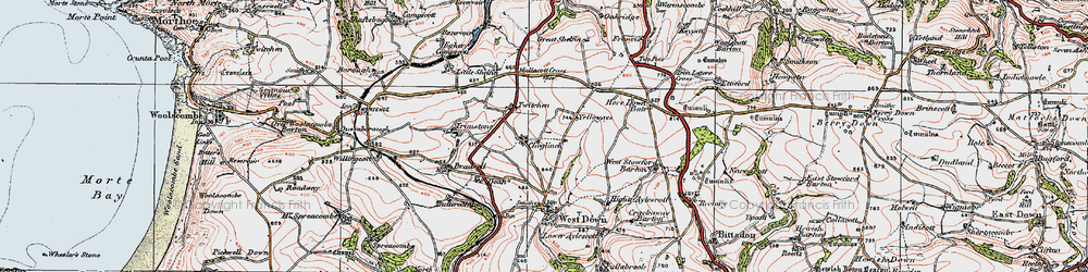 Old map of Yellow Rayes in 1919