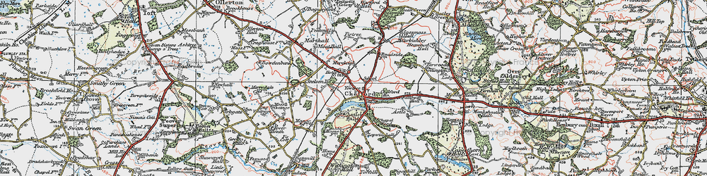 Old map of Chelford in 1923