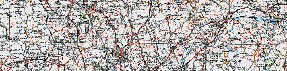 Old map of Whitfield in 1921