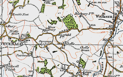Old map of Chells in 1920