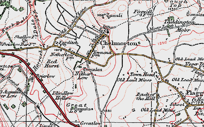 Old map of Chelmorton in 1923