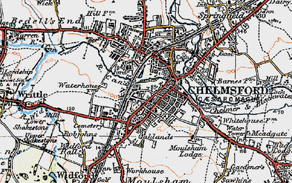 Old map of Chelmsford in 1919