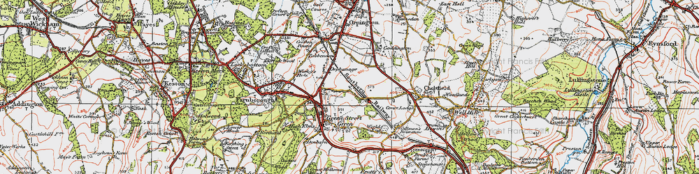 Old map of Chelsfield in 1920