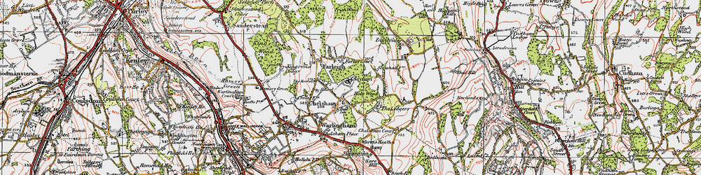 Old map of Chelsham in 1920