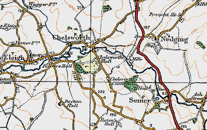 Old map of Chelsworth in 1921