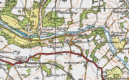 Old map of Chenies in 1920
