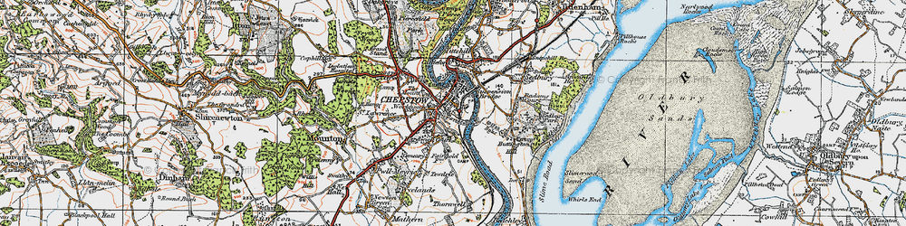Old map of Chepstow in 1919