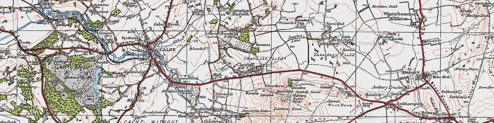 Old map of Cherhill in 1919