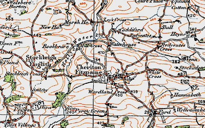 Old map of Cheriton Fitzpaine in 1919