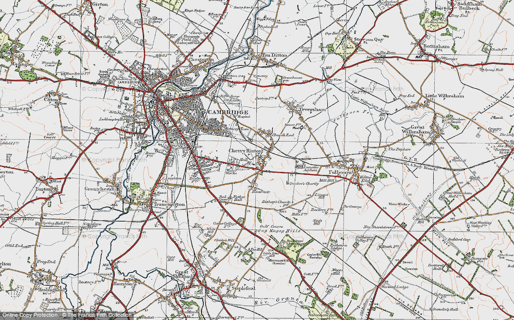 Old Map of Historic Map covering Addenbrooke's Hospl in 1920