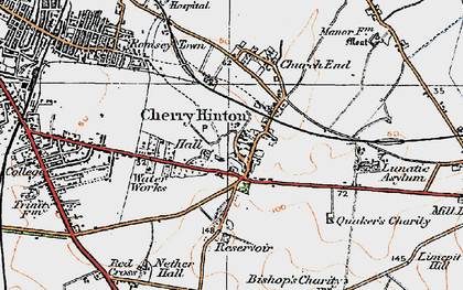 Old map of Cherry Hinton in 1920
