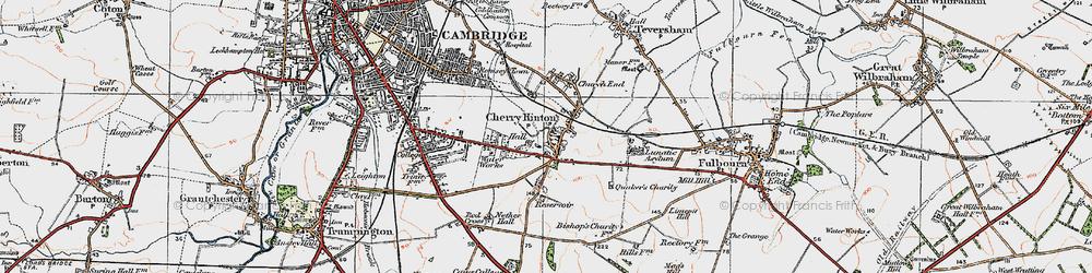 Old map of Addenbrooke's Hospl in 1920