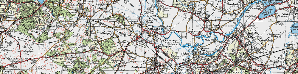 Old map of Chertsey in 1920
