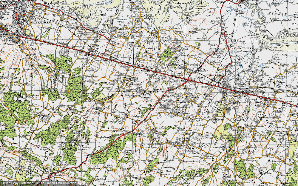 Old Map of Historic Map covering Wormdale in 1921