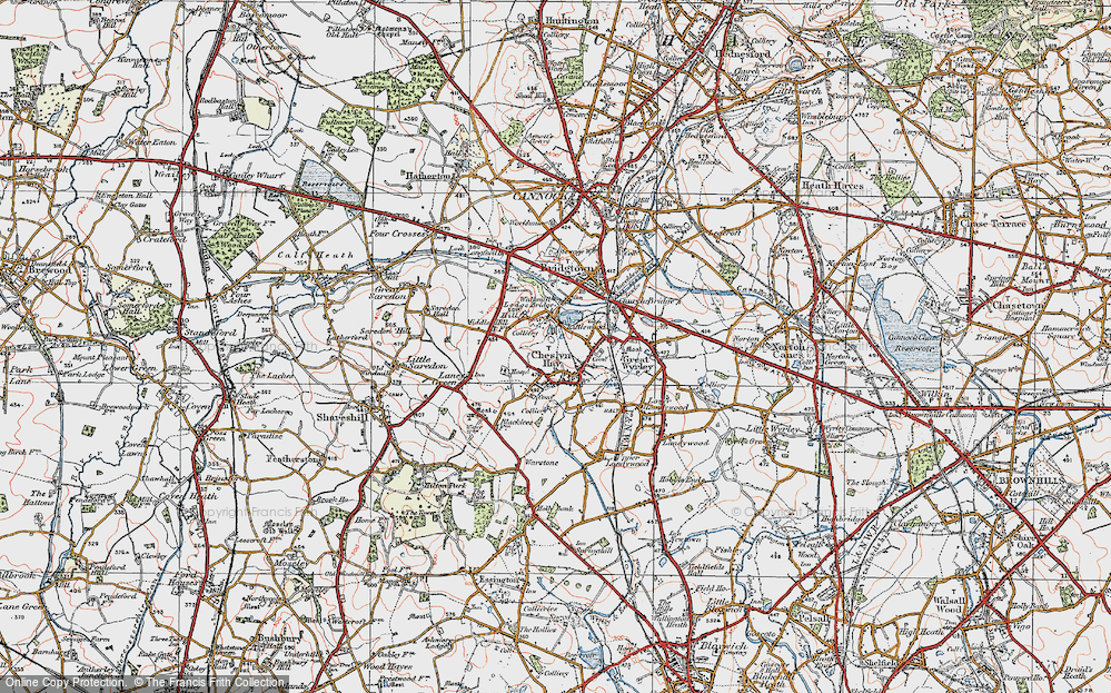 Old Map of Cheslyn Hay, 1921 in 1921