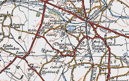 Old map of Cheslyn Hay in 1921