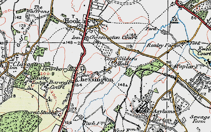 Old map of Chessington in 1920