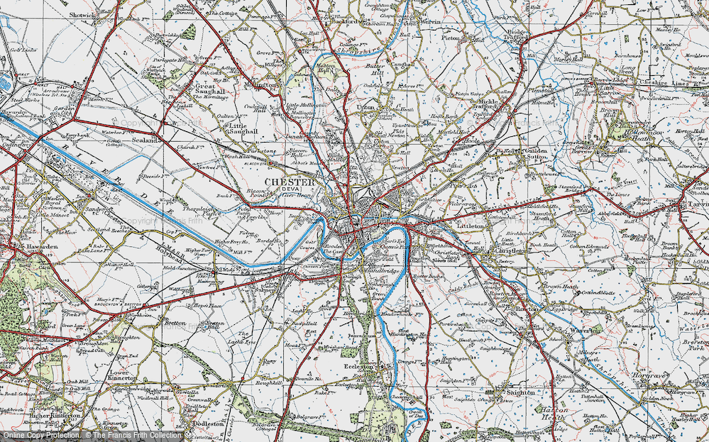 Old Map of Chester, 1924 in 1924