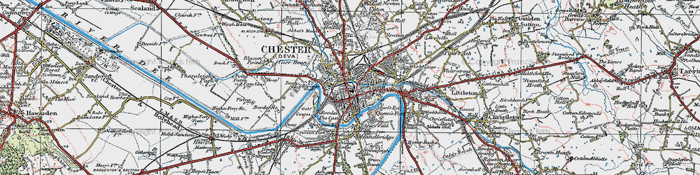 Old map of Chester in 1924