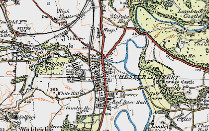 Old map of Lumley Castle in 1925