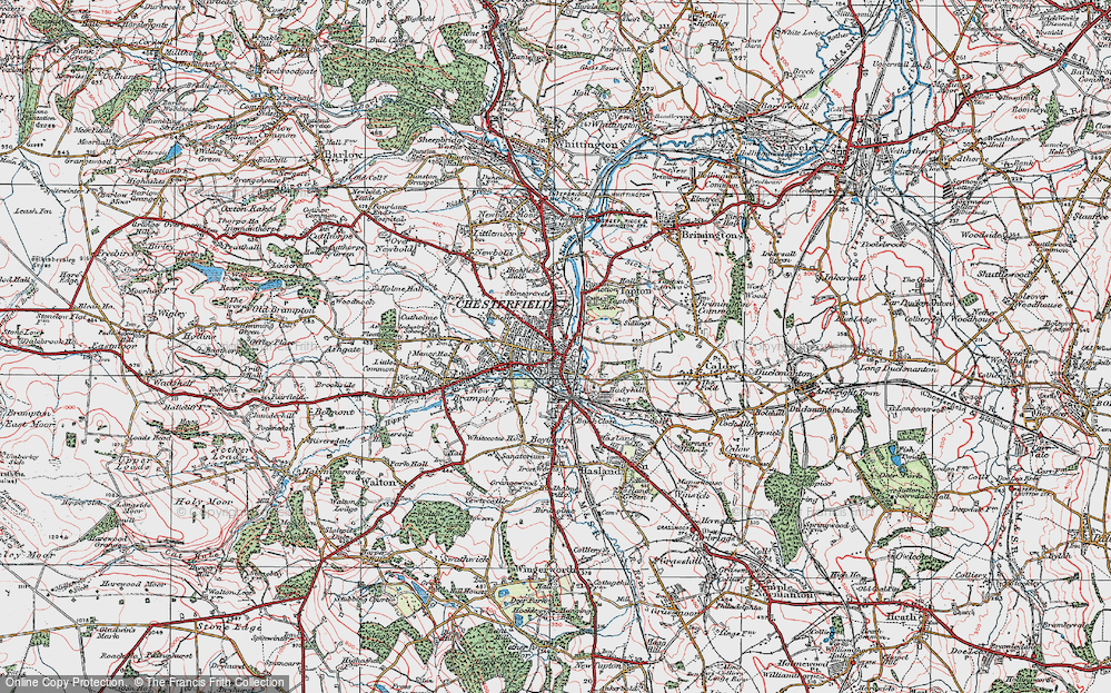 Old Map of Chesterfield, 1923 in 1923
