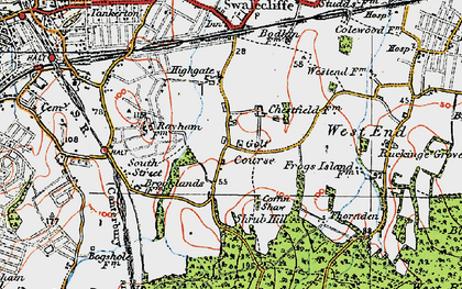 Old map of Chestfield in 1920