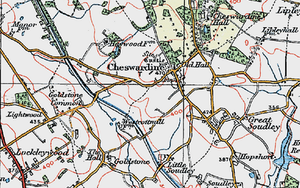 Old map of Cheswardine in 1921