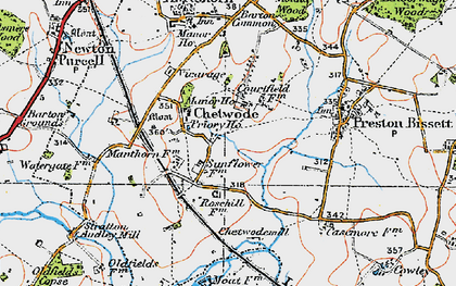 Old map of Chetwode in 1919