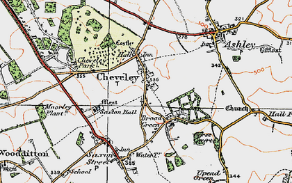 Old map of Cheveley in 1920