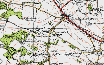 Old map of Cheverell's Green in 1920