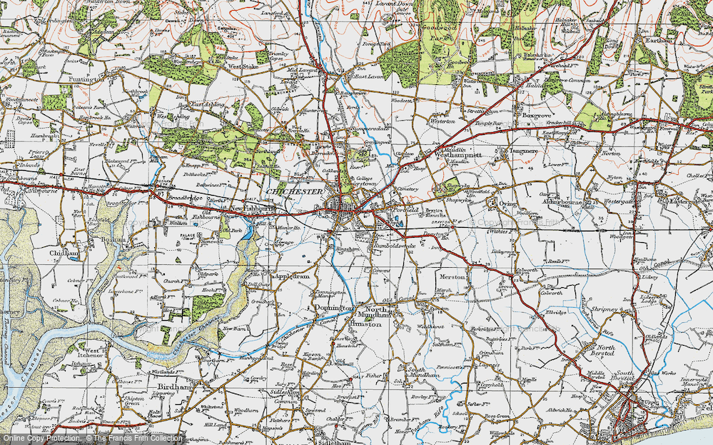 Old Map of Chichester, 1919 in 1919