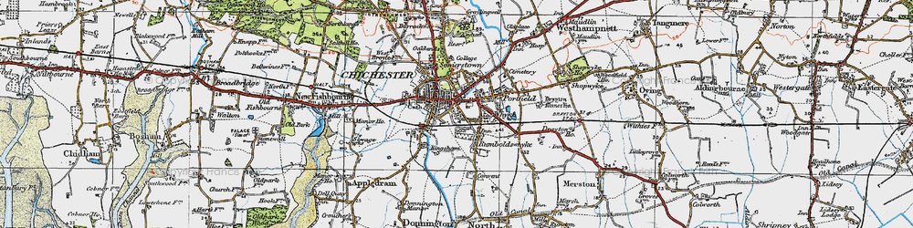 Old map of Chichester in 1919