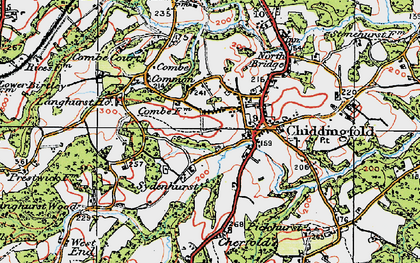 Old map of Chiddingfold in 1920