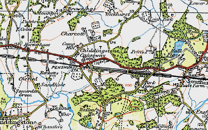 Old map of Chiddingstone Causeway in 1920