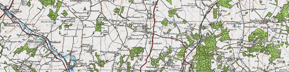 Old map of Chieveley in 1919