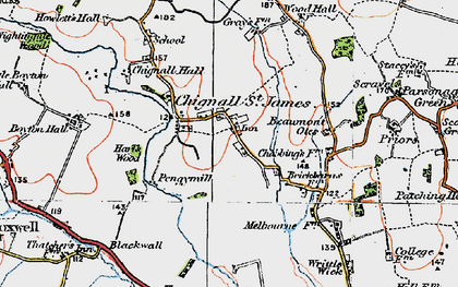 Old map of Chignall St James in 1919