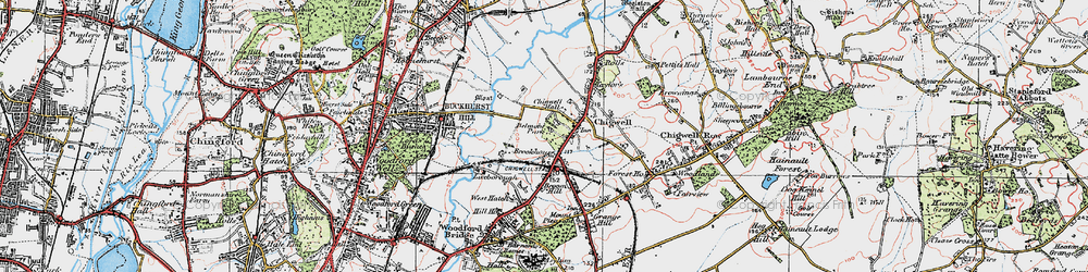 Old map of Chigwell in 1920