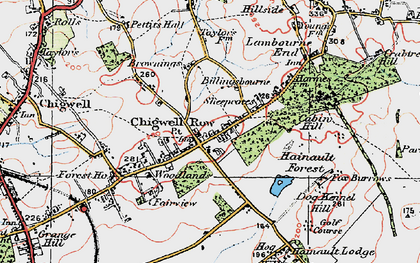 Old map of Chigwell Row in 1920