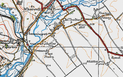 Old map of Chilbolton in 1919