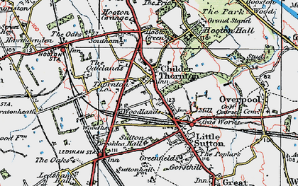 Old map of Childer Thornton in 1924