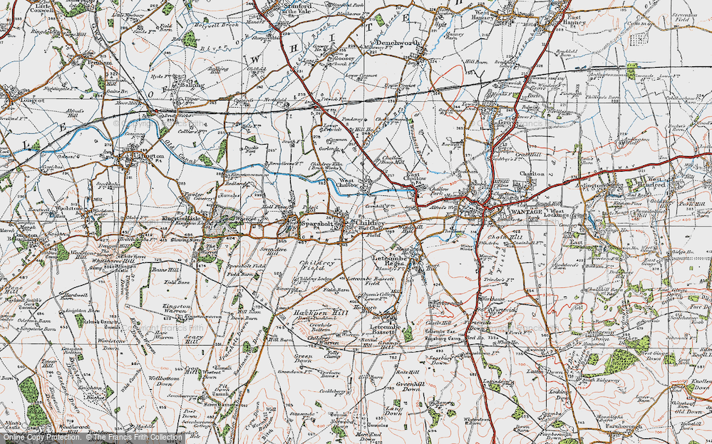 Old Map of Childrey, 1919 in 1919