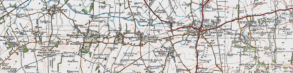 Old map of Childrey in 1919