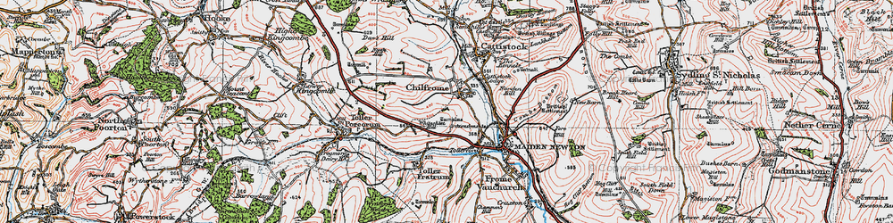 Old map of Whitesheet Hill in 1919