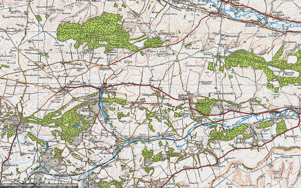 Old Map of Historic Map covering Stockton Wood in 1919