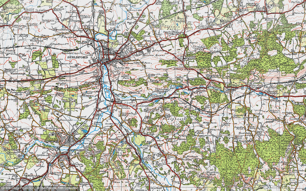 Old Map of Historic Map covering Wonersh Common in 1920
