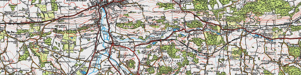 Old map of Wonersh Common in 1920