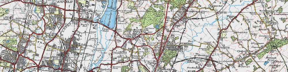 Old map of Chingford in 1920