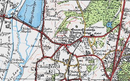 Old map of Chingford Green in 1920