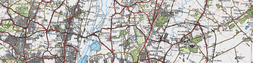 Old map of Chingford Hatch in 1920