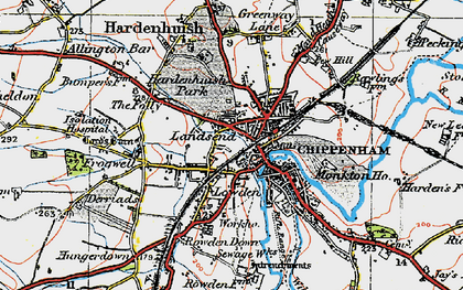 Old map of Chippenham in 1919